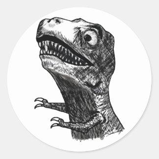 T-Rex Rage Meme - Round Stickers