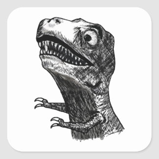 T-Rex Rage Meme - Square Stickers