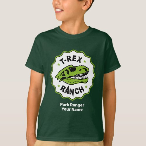 T_Rex Ranch Park Ranger Dark Kids T_Shirt
