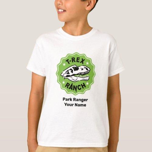 T_Rex Ranch Park Ranger White Kids T_Shirt