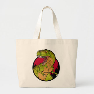 T-Rex red background Large Tote Bag