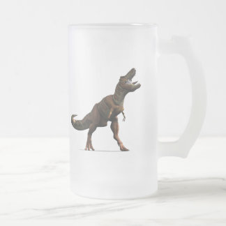 T-rex Roar Frosted Glass Beer Mug