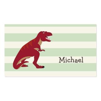 T-Rex rojo en rayas verdes en colores pastel Tarjetas De Visita