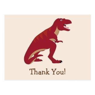 T-Rex rojo, niño del dinosaurio le agradece Tarjetas Postales