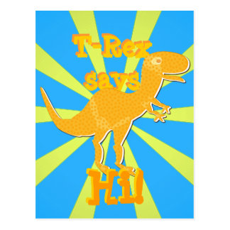 T-Rex says Hi Postcard