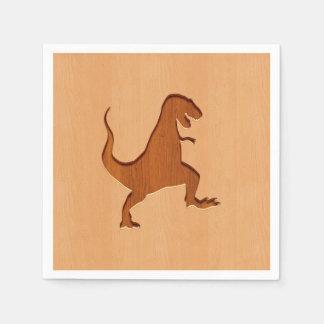 T-rex silhouette engraved on wood design standard cocktail napkin