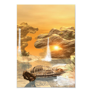 T-rex skeleton in a fantasy world card