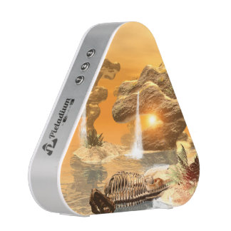 T-rex skeleton in a fantasy world with sunset bluetooth speaker