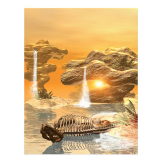 T-rex skeleton in a fantasy world with sunset letterhead