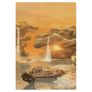 T-rex skeleton in a fantasy world with sunset wood poster