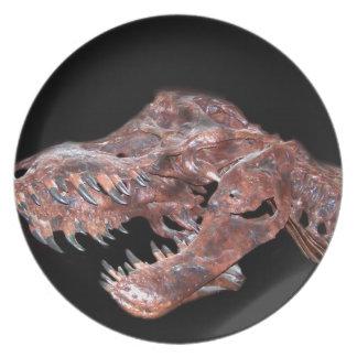 T-Rex Skull Melamine Plate