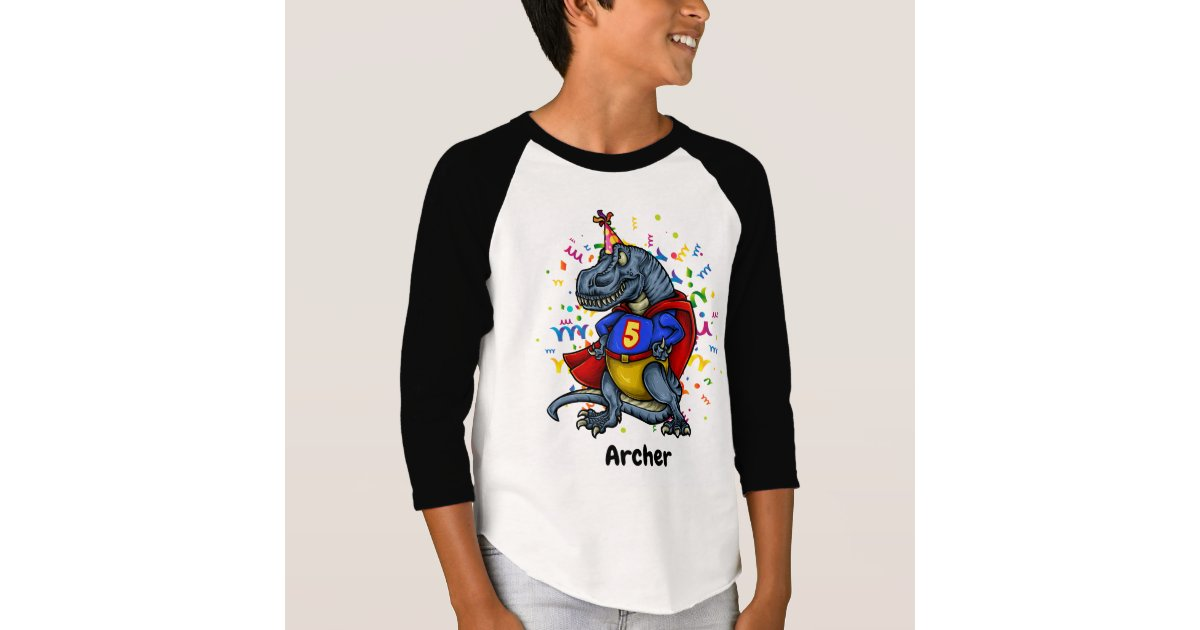 T Rex Superhero 5th Birthday T Shirt Zazzle Com