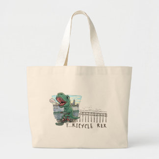 T Rex Tricycle Large Tote Bag