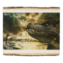 T rex tyrannosaurus dinosaur wood panel
