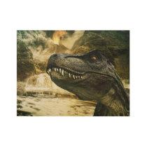 T rex tyrannosaurus dinosaur wood poster
