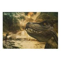 T rex tyrannosaurus dinosaur wood print