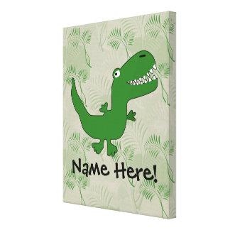T-Rex Tyrannosaurus Rex Dinosaur Cartoon Kids Boys Gallery Wrapped Canvas