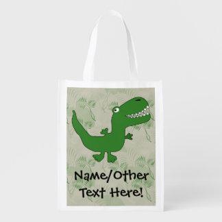 T-Rex Tyrannosaurus Rex Dinosaur Cartoon Kids Boys Grocery Bag