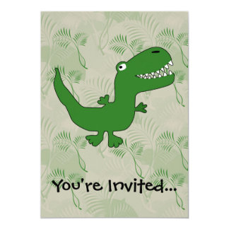 T-Rex Tyrannosaurus Rex Dinosaur Cartoon Kids Boys 5x7 Paper Invitation Card