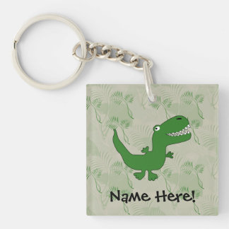 T-Rex Tyrannosaurus Rex Dinosaur Cartoon Kids Boys Single-Sided Square Acrylic Keychain