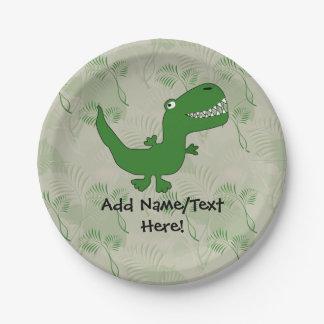 T-Rex Tyrannosaurus Rex Dinosaur Cartoon Kids Boys Paper Plate