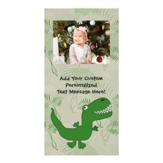 T-Rex Tyrannosaurus Rex Dinosaur Cartoon Kids Boys Photo Card