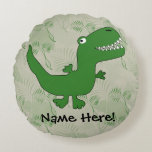 T-Rex Tyrannosaurus Rex Dinosaur Cartoon Kids Boys Round Pillow