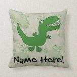 T-Rex Tyrannosaurus Rex Dinosaur Cartoon Kids Boys Throw Pillow