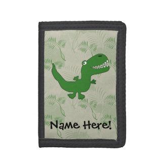 T-Rex Tyrannosaurus Rex Dinosaur Cartoon Kids Boys Tri-fold Wallet