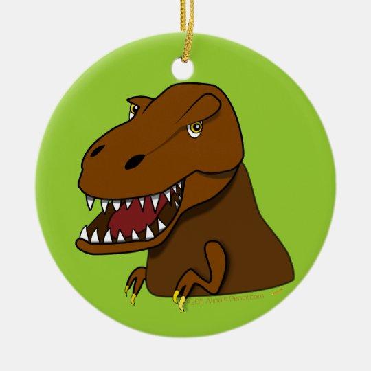 T-Rex Tyrannosaurus Rex Scary Cartoon Dinosaur Ceramic Ornament