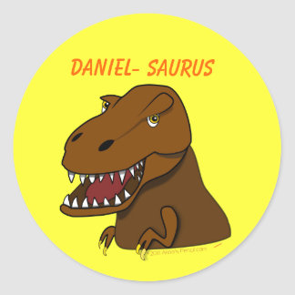 T-Rex Tyrannosaurus Rex Scary Cartoon Dinosaur Classic Round Sticker