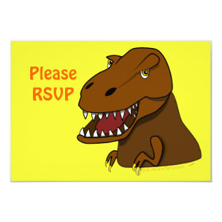 T-Rex Tyrannosaurus Rex Scary Cartoon Dinosaur 3.5x5 Paper Invitation Card