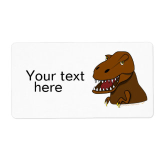 T-Rex Tyrannosaurus Rex Scary Cartoon Dinosaur Label