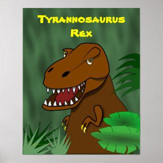 T-Rex Tyrannosaurus Rex Scary Cartoon Dinosaur Poster