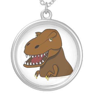 T-Rex Tyrannosaurus Rex Scary Cartoon Dinosaur Round Pendant Necklace