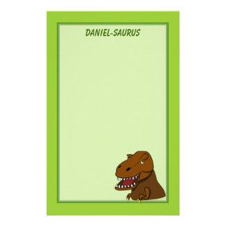 T-Rex Tyrannosaurus Rex Scary Cartoon Dinosaur Personalized Stationery