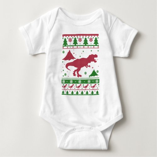 T-Rex Ugly Christmas Baby Bodysuit