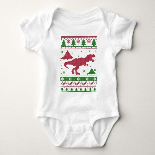 T-Rex Ugly Christmas Baby Bodysuit