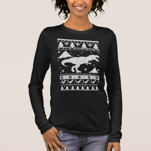 T-Rex Ugly Christmas Long Sleeve T-Shirt After Christmas Sales 5187