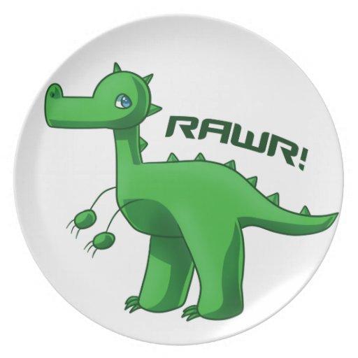 T-Rex verde Platos