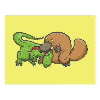 T-rex vs Platypus Post Cards