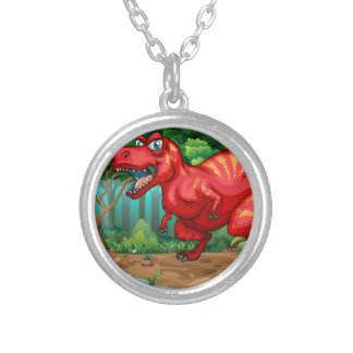 T-Rex walking in the jungle Round Pendant Necklace