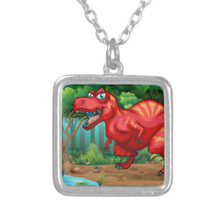T-Rex walking in the jungle Square Pendant Necklace