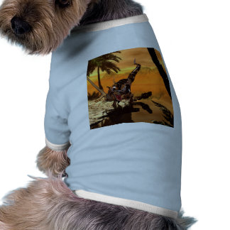 T-rex with armor in the sunset tee
