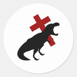T-Rex With Cross Classic Round Sticker
