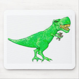 T-Rex with Teddy Bear Mouse Pad
