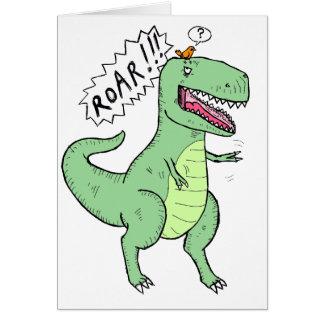 T-Rex y dibujo animado del pájaro Tarjeton