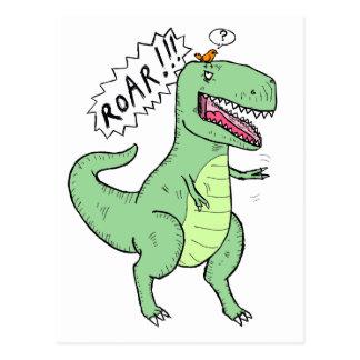 T-Rex y dibujo animado del pájaro Postal
