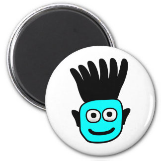 T-Ron--Kid With Funky Mohawk, Blue Fridge Magnets