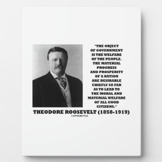 T. Roosevelt Object Government Welfare Of People Plaque